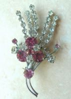 Vintage Pink And Clear Rhinestone Brooch
